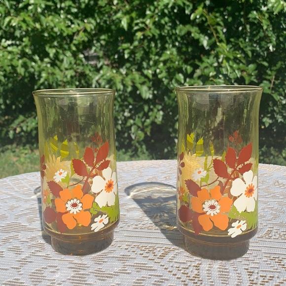Pair of Vintage 70's Floral Glasses